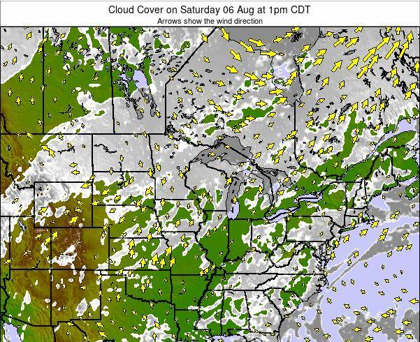 Wisconsin Cloud Cover on Friday 25 Apr at 7am CDT
