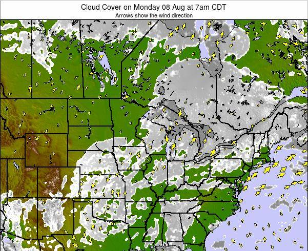 Wisconsin Cloud Cover on Wednesday 01 Oct at 7pm CDT