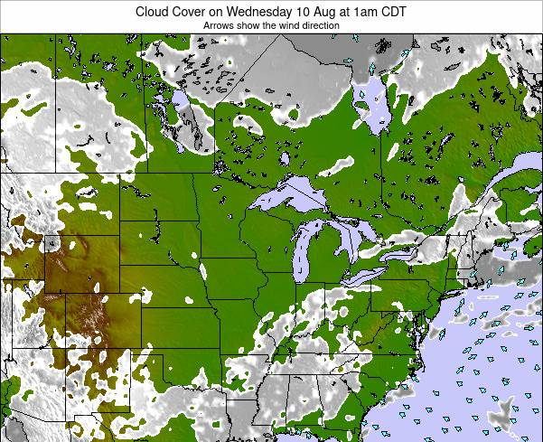 Wisconsin Cloud Cover on Friday 31 Mar at 1pm CDT