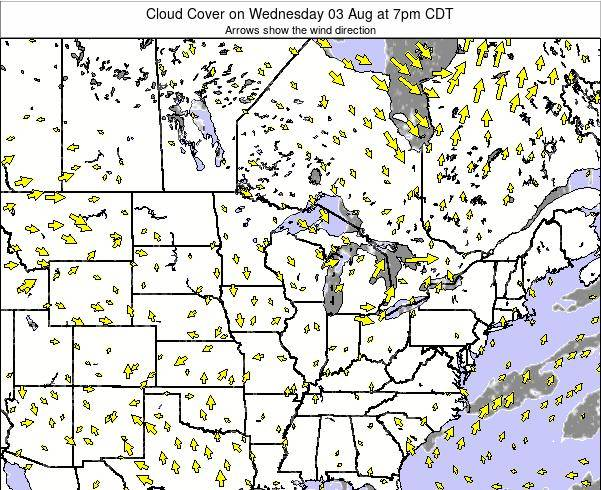 Wisconsin Cloud Cover on Wednesday 22 May at 7pm CDT