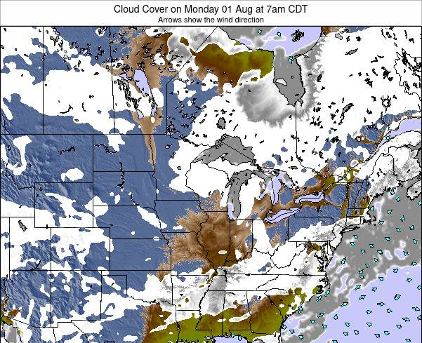 Wisconsin Cloud Cover on Thursday 12 Dec at 6pm CST