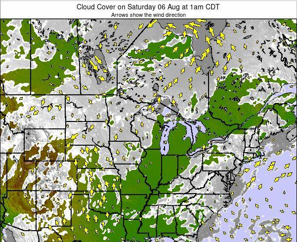 Wisconsin Cloud Cover on Sunday 27 Jul at 7am CDT