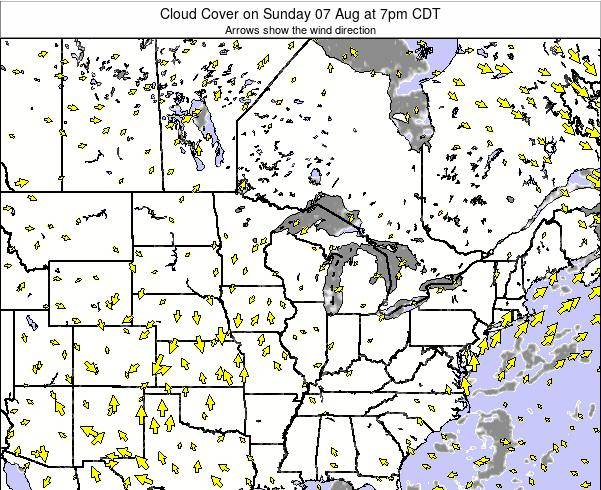 Michigan Cloud Cover on Monday 20 May at 7pm CDT map