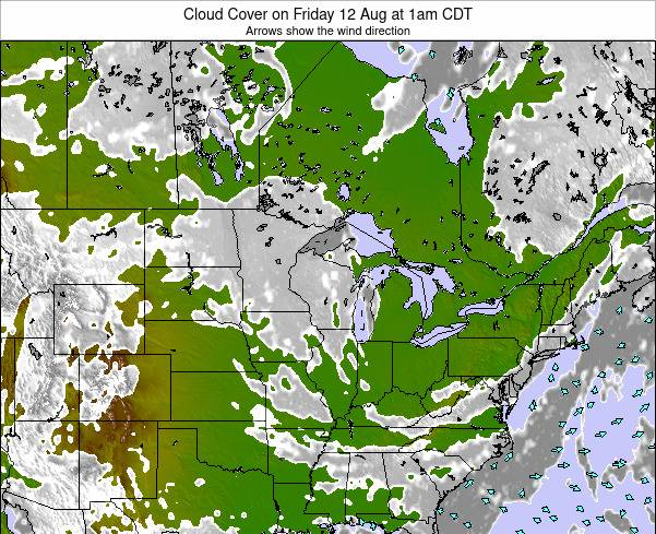 Wisconsin Cloud Cover on Monday 21 Apr at 7pm CDT