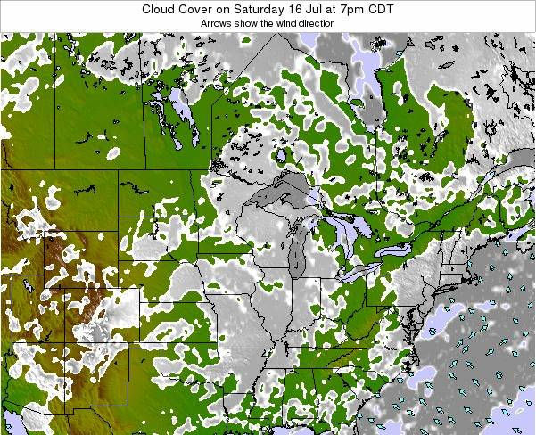 Wisconsin Cloud Cover on Monday 06 Jul at 7pm CDT