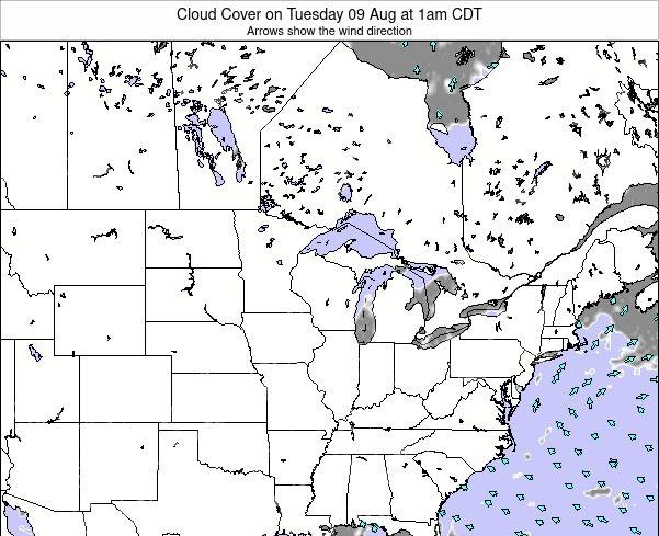 Wisconsin Cloud Cover on Saturday 26 Jul at 1pm CDT