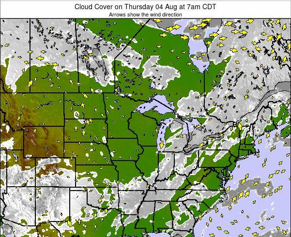Michigan Cloud Cover on Saturday 25 May at 7am CDT