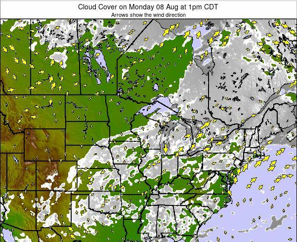 Wisconsin Cloud Cover on Sunday 26 Mar at 7am CDT