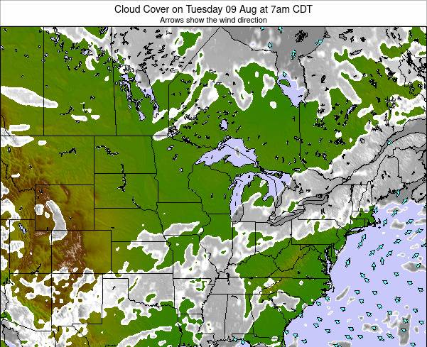 Wisconsin Cloud Cover on Sunday 09 Mar at 6am CST