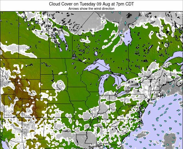Wisconsin Cloud Cover on Friday 24 May at 1pm CDT