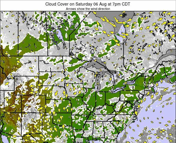 Wisconsin Cloud Cover on Thursday 27 Apr at 1pm CDT