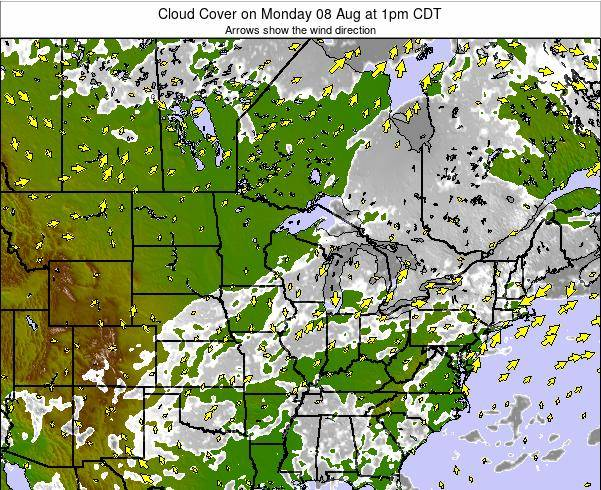 Wisconsin Cloud Cover on Wednesday 17 Jul at 7am CDT map
