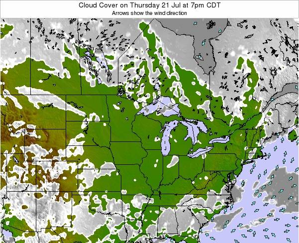 Wisconsin Cloud Cover on Thursday 23 Oct at 7am CDT