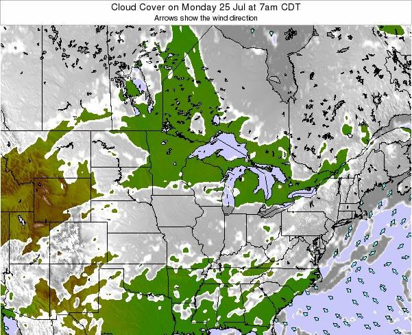 Wisconsin Cloud Cover on Thursday 31 Jul at 7am CDT