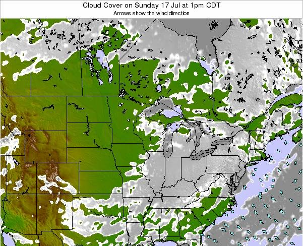Wisconsin Cloud Cover on Thursday 24 Apr at 7pm CDT