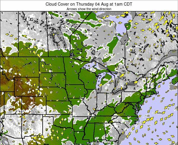 Wisconsin Cloud Cover on Sunday 14 Sep at 7pm CDT