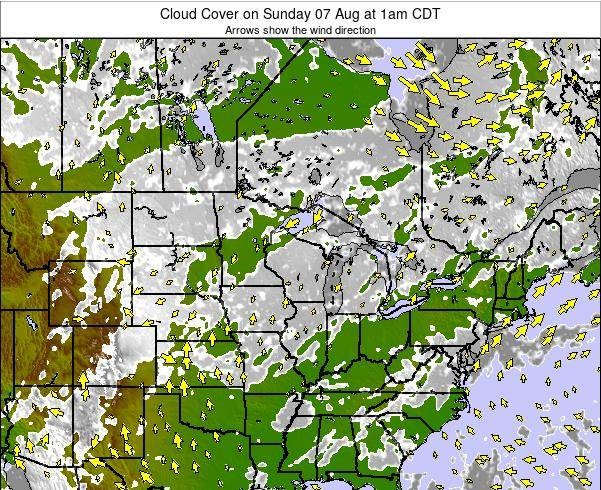 Wisconsin Cloud Cover on Thursday 23 May at 7am CDT