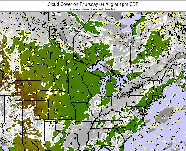 Wisconsin Cloud Cover on Saturday 30 Apr at 7pm CDT