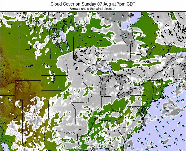 Wisconsin Cloud Cover on Wednesday 23 Jul at 1am CDT