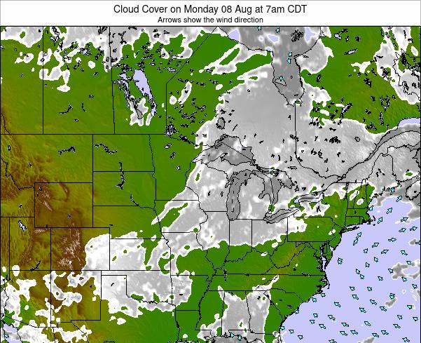 Minnesota Cloud Cover on Monday 10 Mar at 7pm CDT