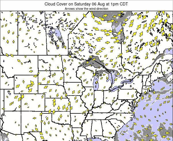 Minnesota Cloud Cover on Monday 25 Jul at 1am CDT