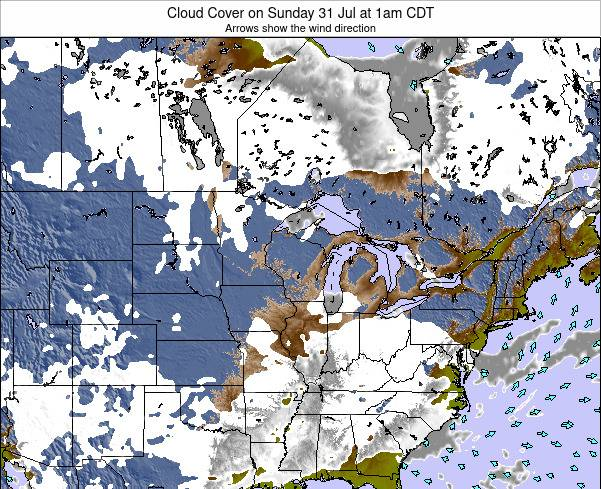 Wisconsin Cloud Cover on Monday 28 Jul at 7am CDT