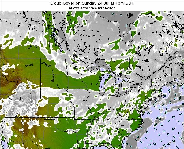 Minnesota Cloud Cover on Thursday 24 Jul at 7pm CDT