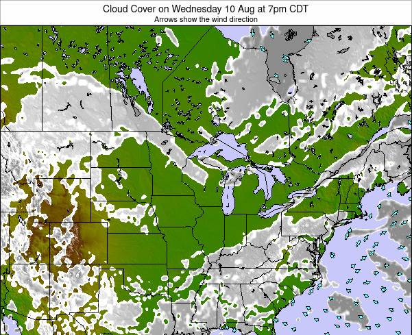 Wisconsin Cloud Cover on Friday 14 Mar at 1am CDT