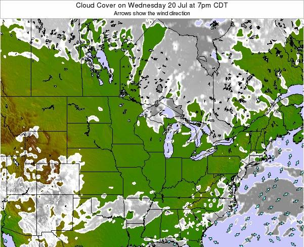 Wisconsin Cloud Cover on Wednesday 30 Jul at 1pm CDT