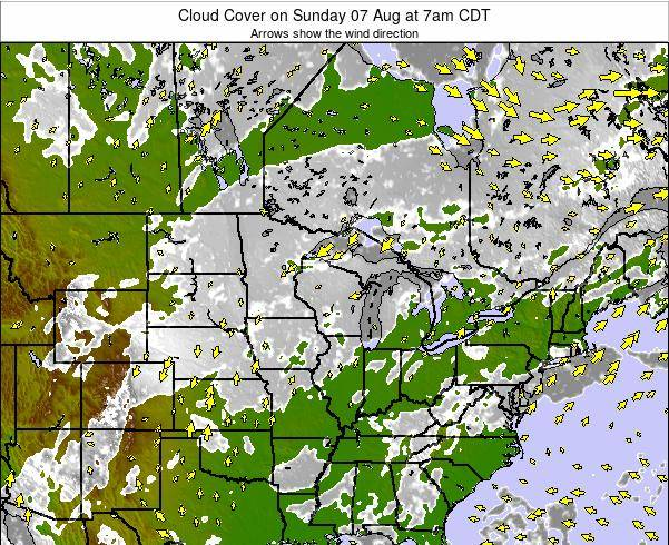 Wisconsin Cloud Cover on Saturday 22 Jun at 1am CDT