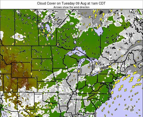 Wisconsin Cloud Cover on Friday 24 Feb at 6pm CST
