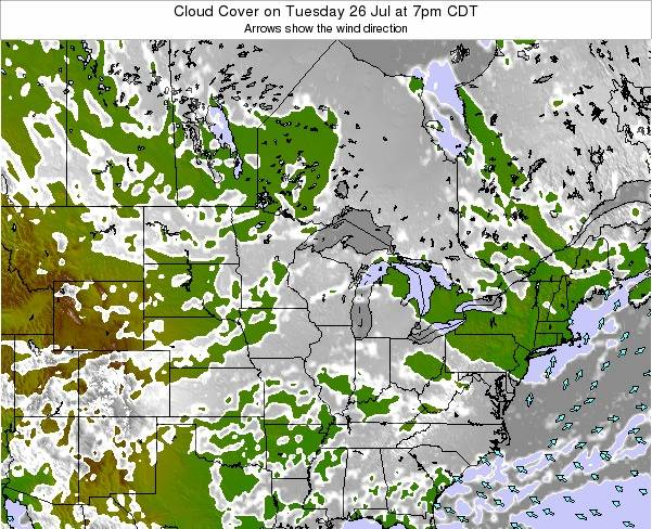 Wisconsin Cloud Cover on Saturday 14 Dec at 12am CST