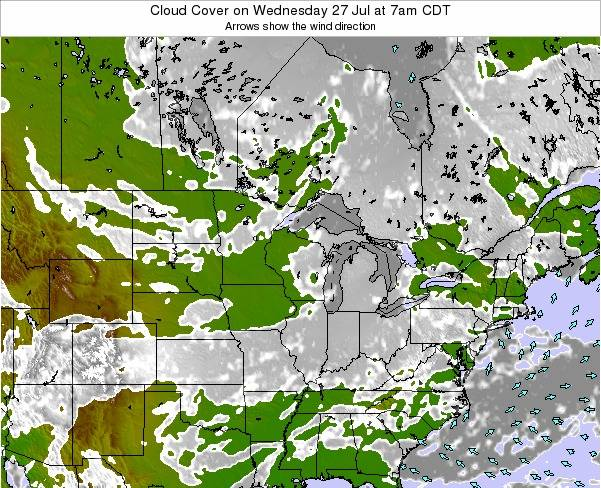 Wisconsin Cloud Cover on Saturday 22 Jul at 7pm CDT
