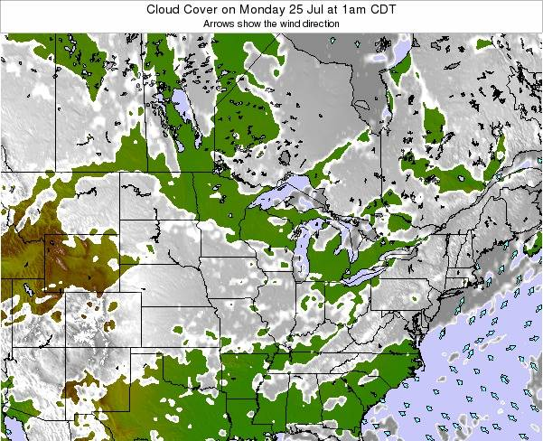 Minnesota Cloud Cover on Friday 25 Apr at 1pm CDT