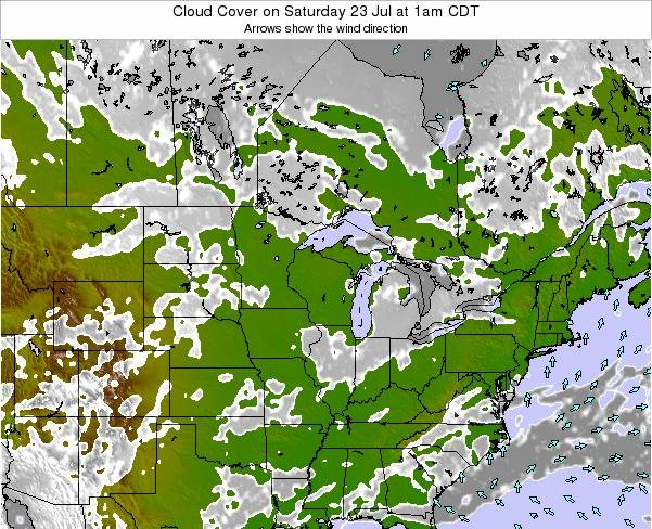 Michigan Cloud Cover on Thursday 23 May at 1am CDT
