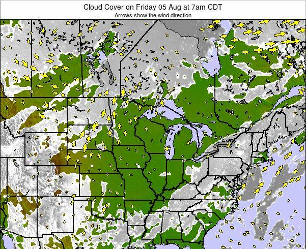 Minnesota Cloud Cover on Saturday 02 Aug at 1am CDT