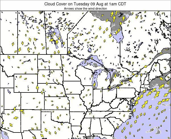 Minnesota Cloud Cover on Sunday 15 Dec at 12am CST
