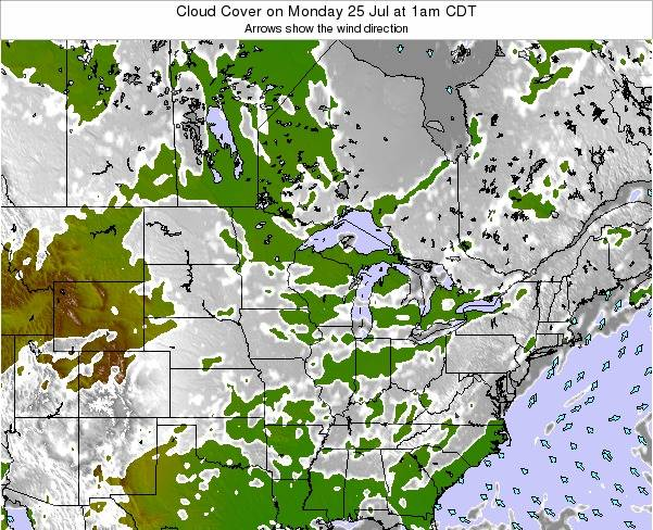 Minnesota Cloud Cover on Sunday 27 Apr at 1am CDT