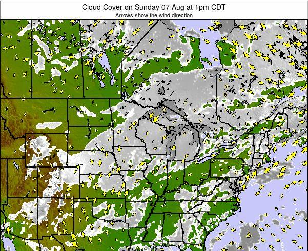 Minnesota Cloud Cover on Monday 27 May at 1pm CDT