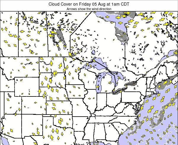 Minnesota Cloud Cover on Tuesday 11 Mar at 12am CST