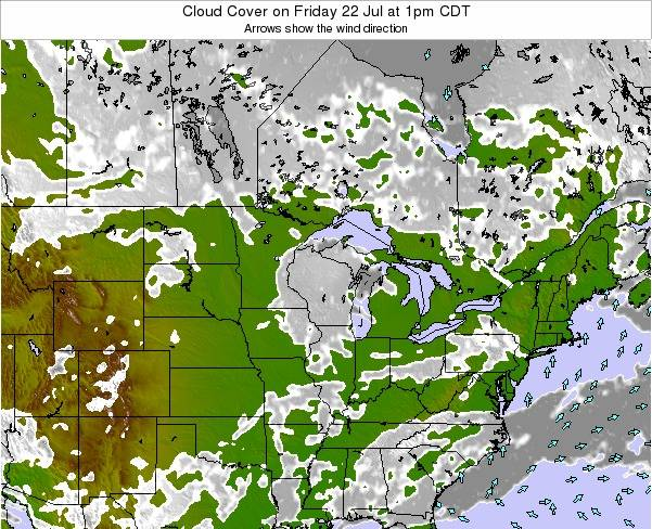Wisconsin Cloud Cover on Monday 26 Aug at 1am CDT map