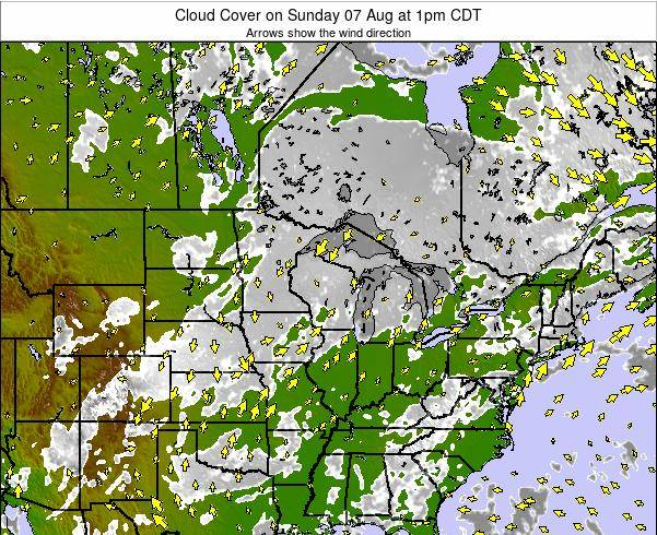 Wisconsin Cloud Cover on Tuesday 28 May at 7am CDT
