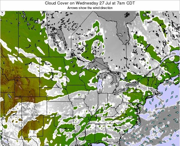 Wisconsin Cloud Cover on Sunday 02 Nov at 7am CDT