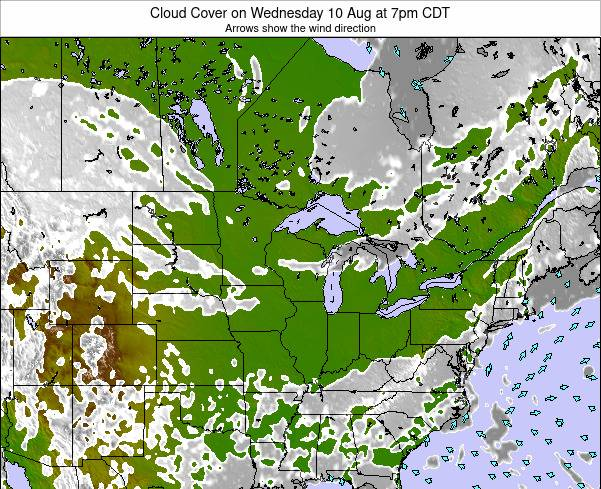 Wisconsin Cloud Cover on Monday 23 Dec at 6pm CST