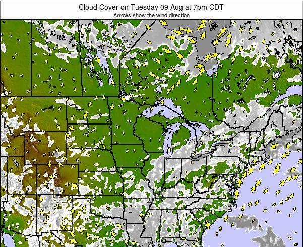 Wisconsin Cloud Cover on Saturday 02 Aug at 7pm CDT