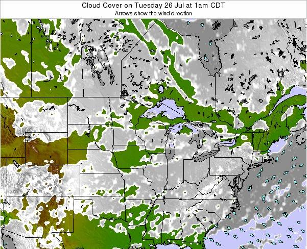 Minnesota Cloud Cover on Sunday 21 Apr at 7am CDT map