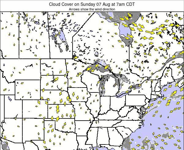 Wisconsin Cloud Cover on Tuesday 22 Apr at 7am CDT