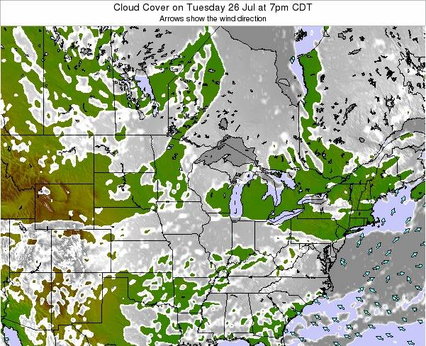 Minnesota Cloud Cover on Tuesday 28 Mar at 7am CDT