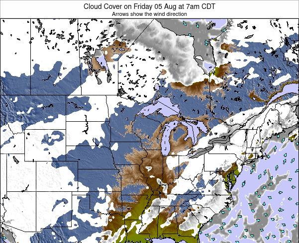 Minnesota Cloud Cover on Monday 15 Feb at 12am CST