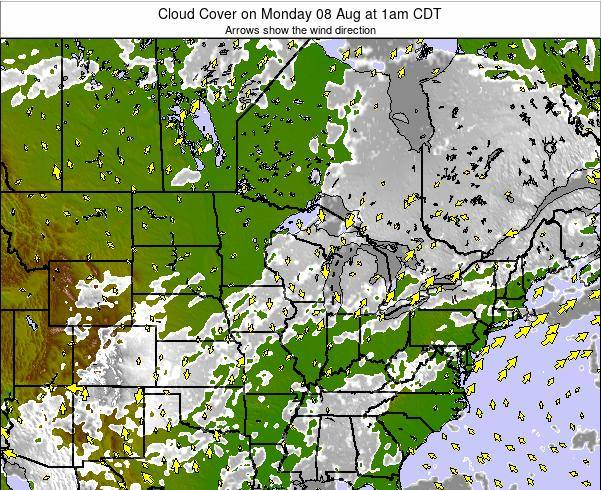 Minnesota Cloud Cover on Monday 04 Aug at 7pm CDT